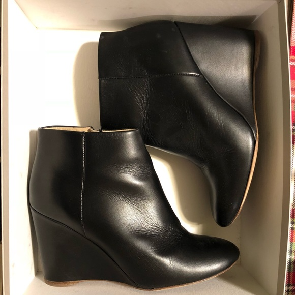 9ddc3ad36443 COS Shoes - COS black leather wedge heeled ankle boots
